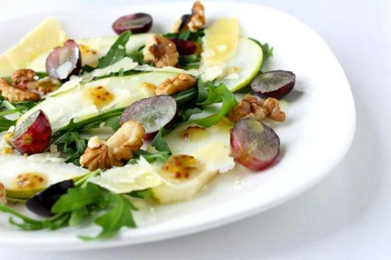 Pear, grape rocket salad with wholegrain honey mustard vinaigrette