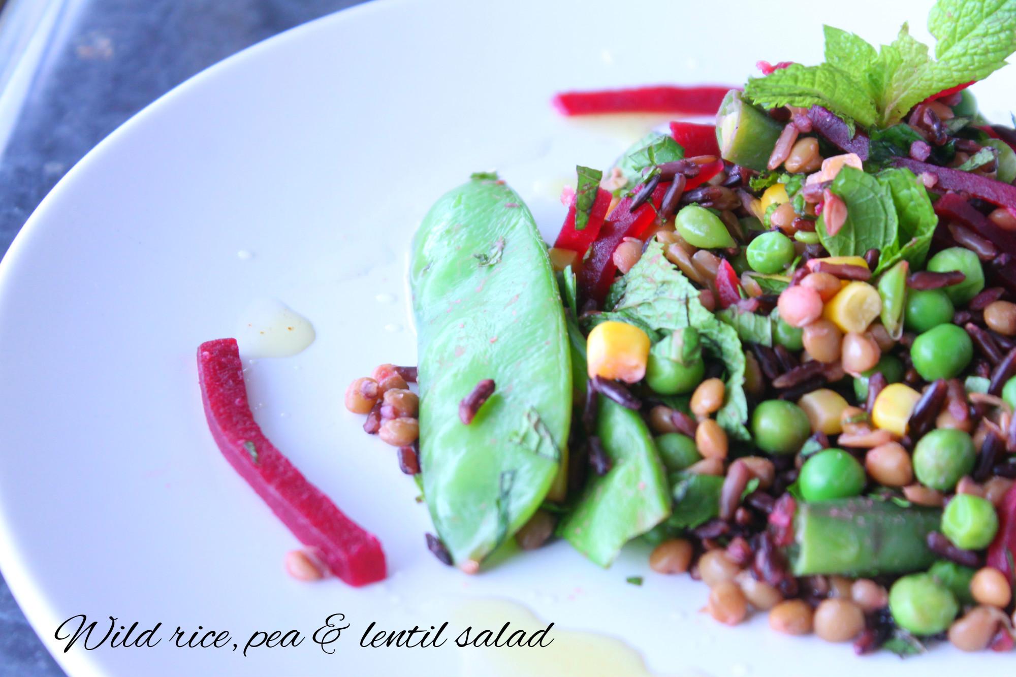 Wild rice, pea& lentil salad