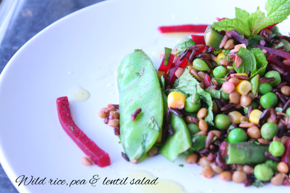 Wild rice, pea and lentil salad