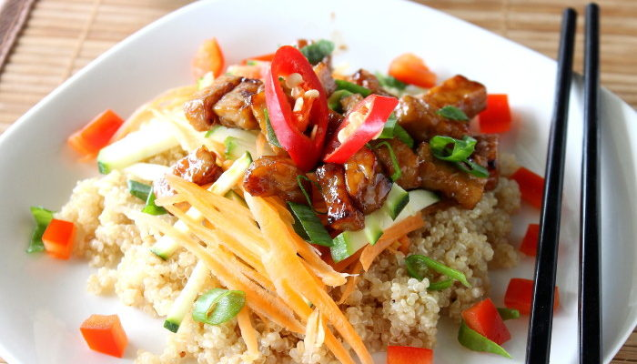 Honey Sesame Tempeh and Spicy quinoa Salad