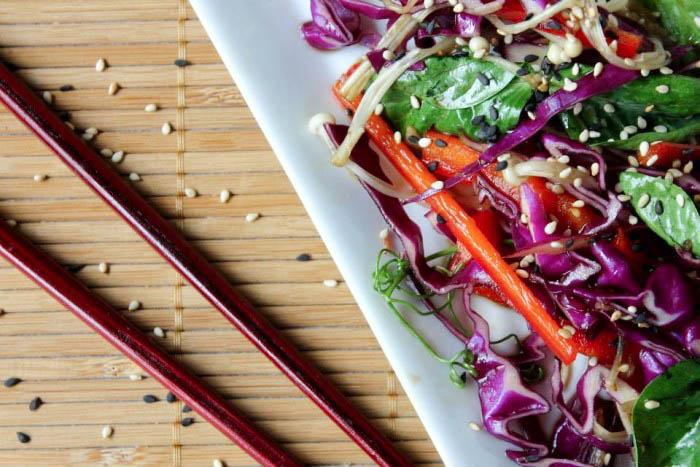 Red Cabbage, pea shoot, edaname, enoki and Sesame salad