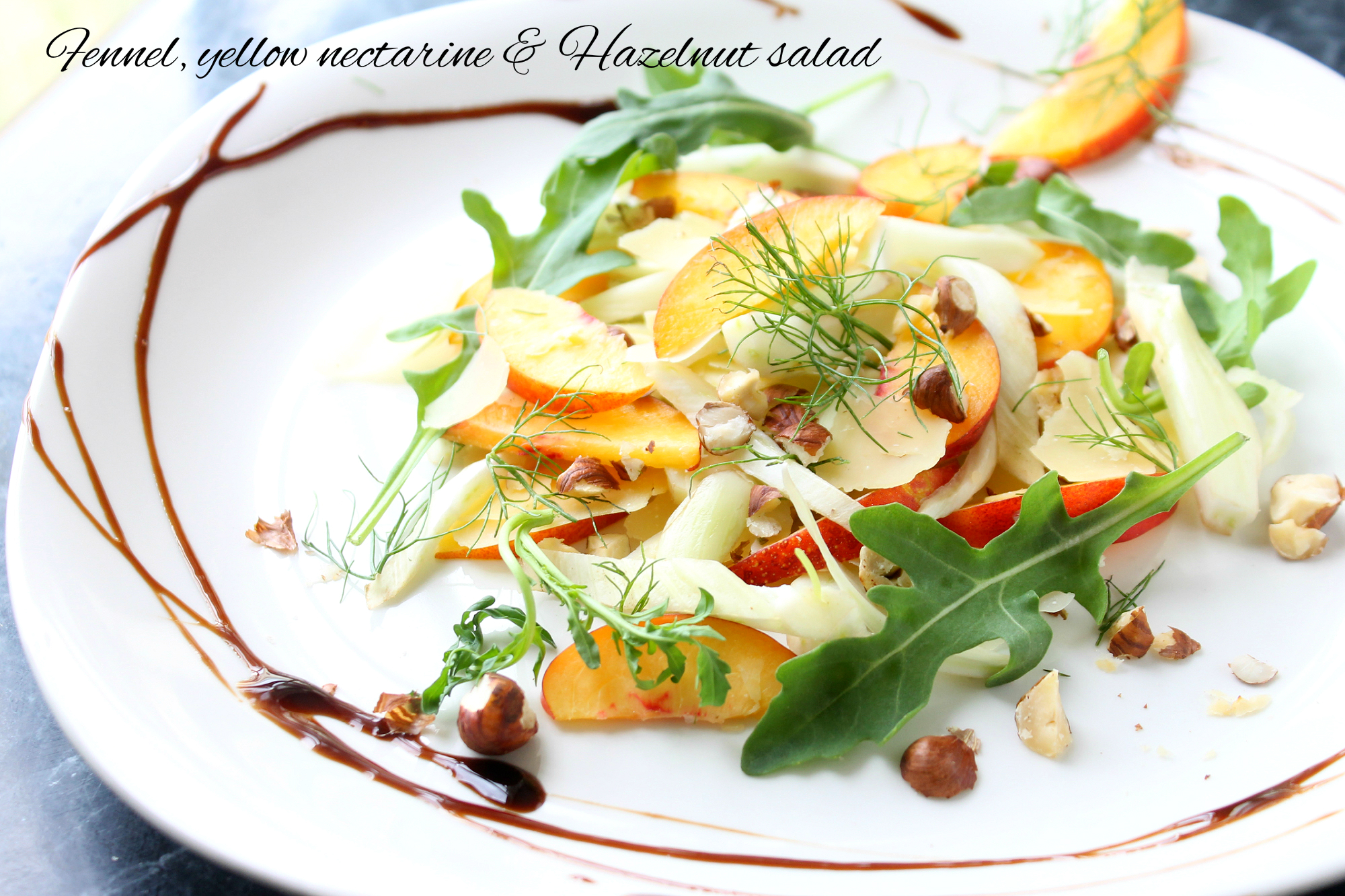 Nectarine, fennel and hazelnut salad